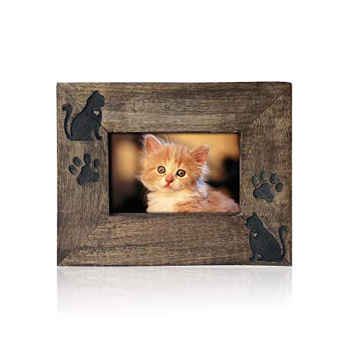 (Cat Memorial Sympathy Gifts Picture Frame - Pet Kitty Bereavement Gift frame - Horizontal Natural Wood Photo Frame in Natural Polish - Handmade by Artisans - 4x6)