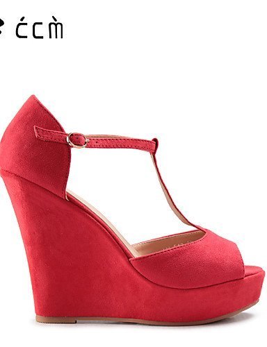 ShangYi Womens Shoes Wedge Heel Wedges/Peep Toe/Platform/T-Strap Sandals Office & Career/Party & Evening/Casual Coral Shoes coral