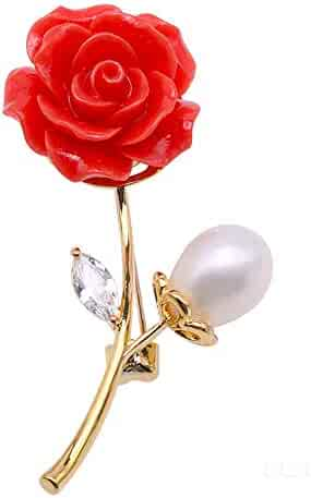 0e900792cfc JYX Pearl Coral Rose Brooch White Freshwater Pearl and Coral Rose Brooch Pin