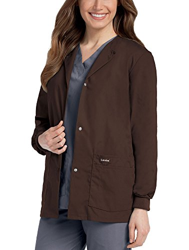 Landau 'Women's Warm-Up Jacket Scrub Jacket - 7525' Scrub Jacket Cocoa X-Large