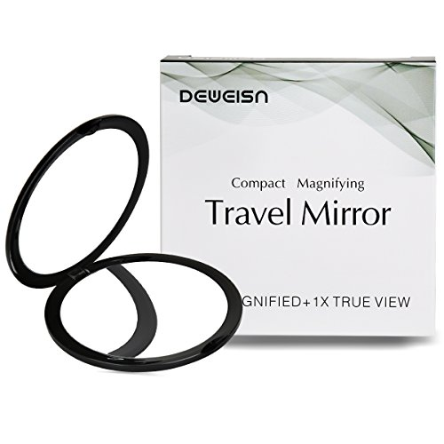 Small Purse Mirror - Magnifying Compact Cosmetic Mirror-DeWEISN Elegant Compact Pocket Makeup Mirror, Handheld Travel Makeup Mirror with Powerful 10x Magnification and 1x True View Mirror for Travel or Your Purse (Black)