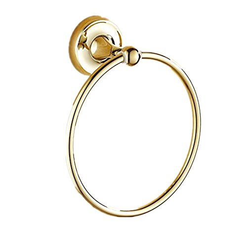 Ring Gold Towel (7Trees Bathroom Lavatory Towel Ring Wall Mount Hanging Towel Ring Aluminum Oxide Wall Mounted, Polished Gold)