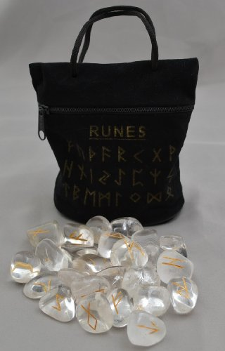 Clear Quartz Rune Stones with Black Carry Bag