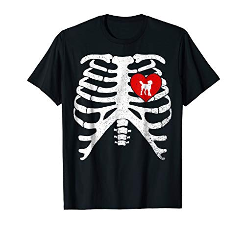 LABRADOODLE with Skeleton Rib Cage Costume Halloween T-Shirt]()