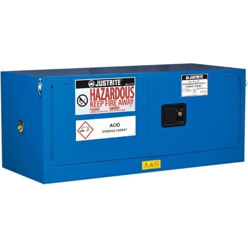 Justrite 8613282 Piggyback Hazardous material Steel Safety Cabinet, 12 gal, Steel, (Justrite Blue Safety Storage Cabinet)