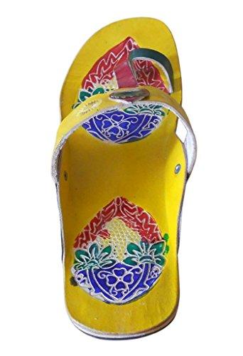 Kalra Creations , Damen Hausschuhe Weiß gelb