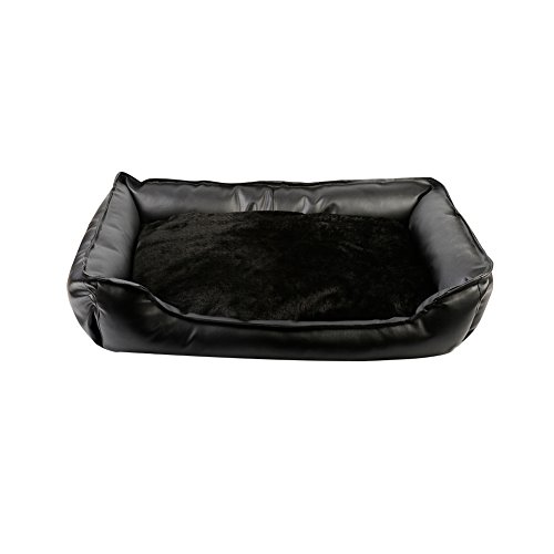 WuKong Four Seasons Pet Bed Removable Leather Dog Bed for Dog Cat Rabbit Nest (M: 29.2''x19.5x7'', Black) by Wukong