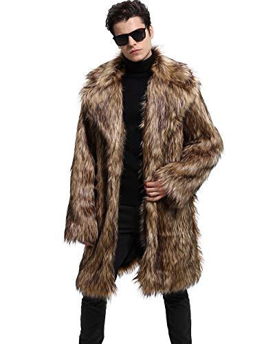 Lafee Bridal Men's Luxury Faux Fur Coat Jacket Winter Warm Long Coats Overwear Outwear Brown 1 ()
