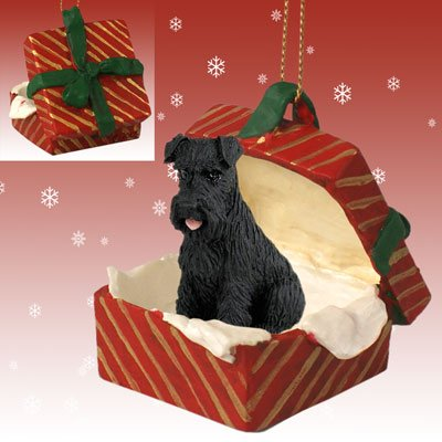 Akc Christmas Ornament (Conversation Concepts Schnauzer Black w/Uncropped Ears Gift Box Red Ornament)