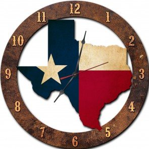 Clock State Plasma (Past Time Signs PS489 18 x 18 in. Texas State Shape Clock Plasma Metal Sign)