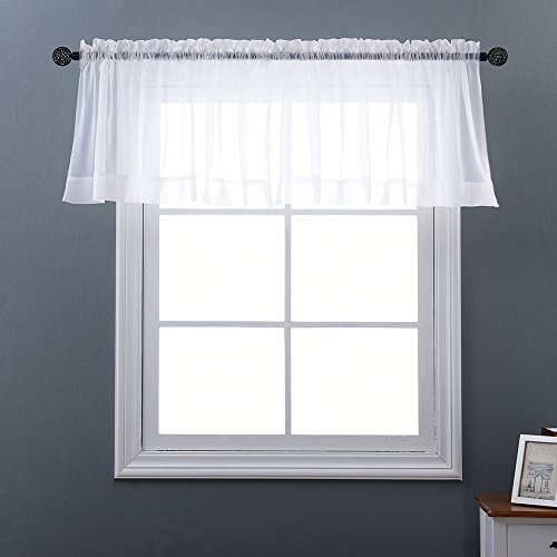 NICETOWN Rod Pocket Sheer Valances - Plain Sheer Window Valance Curtain Voile Panel for Small Window (Single Piece, W60 x L20, White)