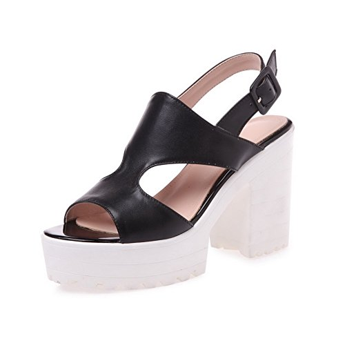 AllhqFashion Womens Open Round Toe High Heels Solid Cow Leather Sandals with Chunky Heels Black