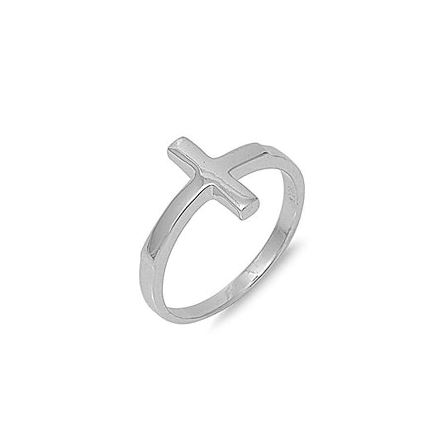 Solid Sideways Cross .925 Sterling Silver Ring Size 6