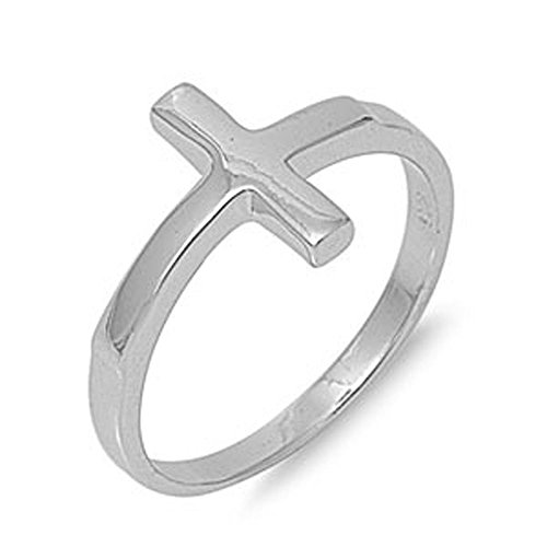 Solid Sideways Cross .925 Sterling Silver Ring Size 6