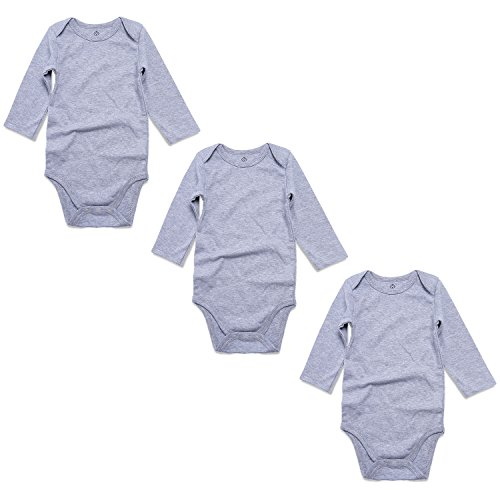 OPAWO Grey Baby Bodysuits Long Sleeve for Unisex Boys Girls 3 Pack 6-9 Months