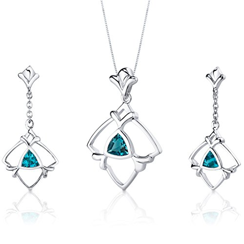 Swiss Blue Topaz Pendant Earrings Set Sterling Silver Rhodium Nickel Finish Trillion Cut 1.75 Carats