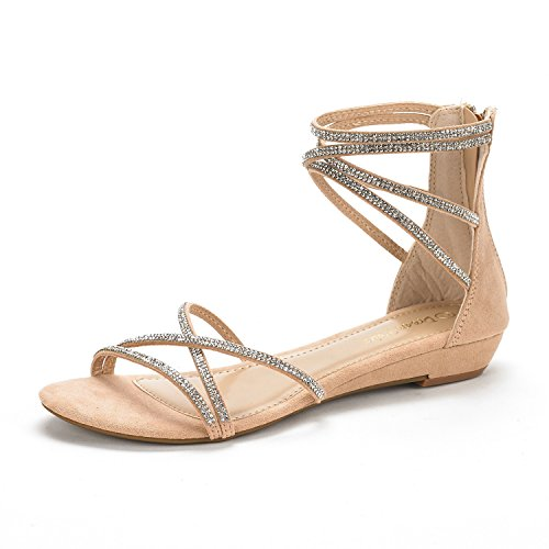 DREAM PAIRS Women's weitz Nude Ankle Strap Rhinestones Low Wedge Sandals - 9 M US Strap Spring Sandals Shoes