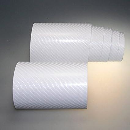 TipTopCarbon 6,58/€//m/² 4D Carbon Folie wei/ß BLASENFREI 0,5m x 1,52m mit Luftkan/äle Autofolie selbstklebend