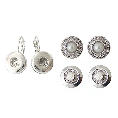 Snap Charm Huggie Earrings for Mini Snaps Includes 2 Pairs 12mm Snaps Bundle of 3 Items (Pearl and Bling)