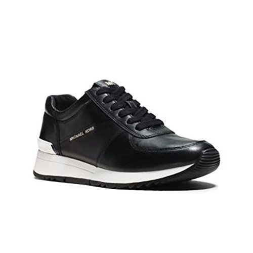 Sneaker Michael Kors Allie Trainer in pelle bianca e vernice nera Black Leather