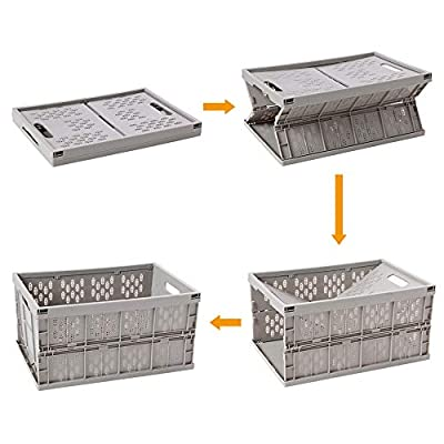 OCDLIVERER Collapsible Firm Storage Bin,Milk Crate and Reusable Folding Moving Box, 17.7 in x 12 in x 9 in, for Auto organizing, Moving, Long Time Storage (PP, Grey, Medium)