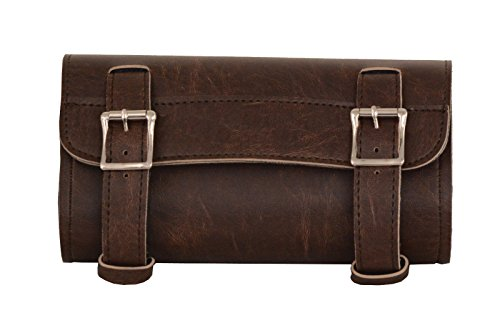 Milwaukee Motorcycle Biker Distressed Tool Bag Luggage New Brown PVC PlainTwo Buckle Strap ()