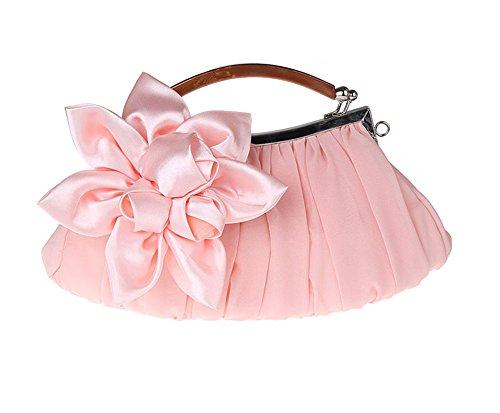 Genda Peach Chiffon 2Archer Floral Sheer Evening Clutch Embellish Handbag Big Exterior Party xxrZP