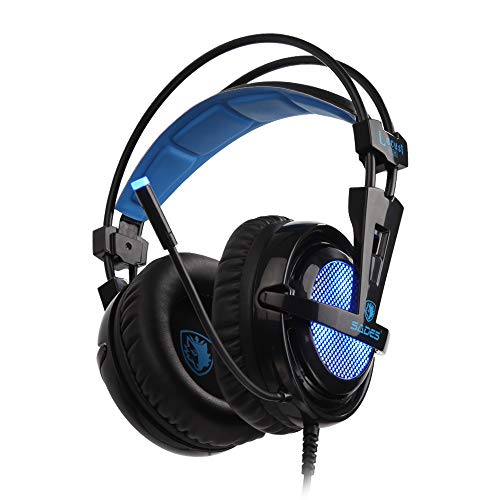 SADES PC Gaming Headset -Locust Plus- 7.1 surround sound USB Input Plug Over-ear Headphones with Noise Isolating and Adjustable Headband for Computer Gamers