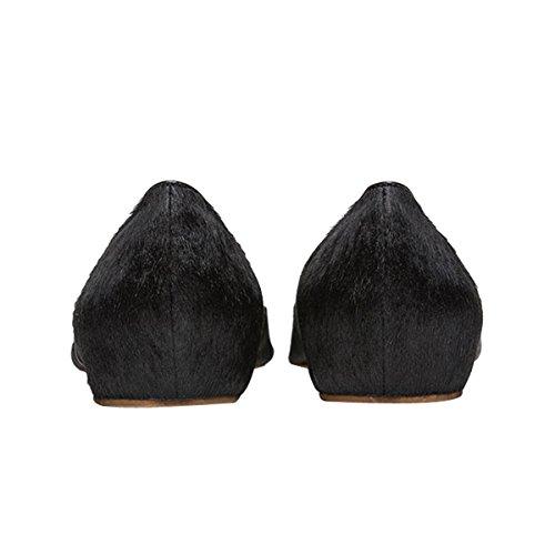 Damen Ballerinas Flats Samt Geschlossene Klassisch Flache Schuhe Rutsch Schwarz