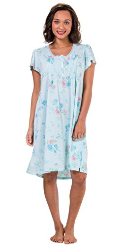 Miss Elaine Silkyknit Short Smocked Flutter Sleeve Gown - Turquoise Rose (Turquoise Rose Toile, (Toile Nightgown)