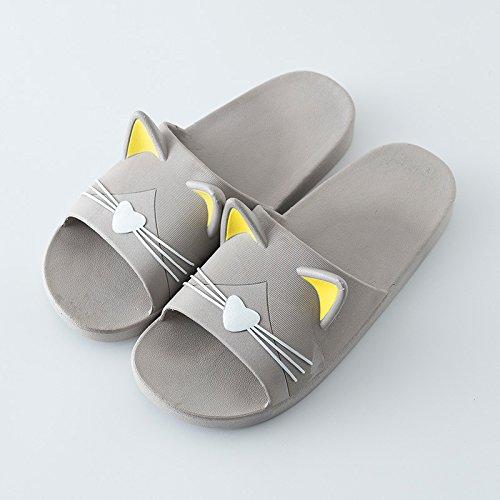 FankouLa cool verano zapatillas parejas home zapatillas, elegante y gatos lindos y anti-deslizamiento de tierra blanda resistencia a las zapatillas de baño sucio baño ,39-40, gato gris