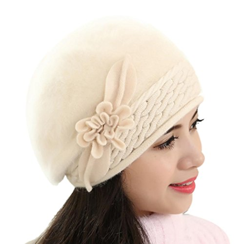 haoricu Beret Cap, Fashion Womens Flower Knit Crochet Beanie Hat Winter Warm Cap (Beige 1)