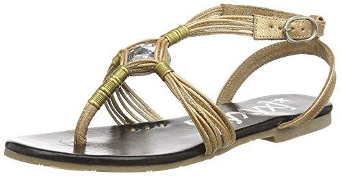 Sandal Oro Sandalias Tobillo Mujer de xyxyx Negro 1nUzwqU