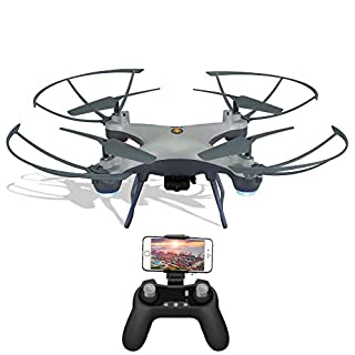 WiFi FPV Drone F033 RC Quadcopter with 480P HD Camera Live Video Beginner Drones with Altitude Hold/3 Speed/Headless Mode/3D Flips/Gravity Sensor/One Key Take Off Landing/VR Mode