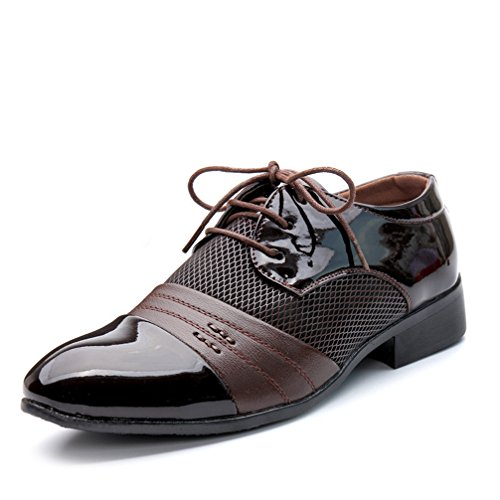Mens Oxford Shoes, Pointed Toe Lace Up Breathable Hollow Business Formal Shoes by Phil Betty