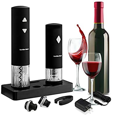 Hamiltan Beach - Wine Opener Set with LED Electric Corkscrew - Wine Preserver- Silicone Foil Cutter - 2 Wine Stoppers