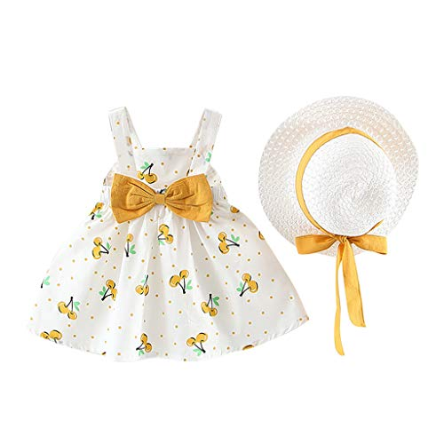 Toddler Little Girl Halter Dress Set ❣ Infant Baby Fruit Print Bow Dresses + Sun Hat ❣ Cute A Line Tutu Clothes (12-18 Months, Yellow)