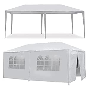 MCombo 10'x20' White Canopy Party Outdoor Gazebo Wedding Tent Removable Walls (6053-W1020w-6PC)