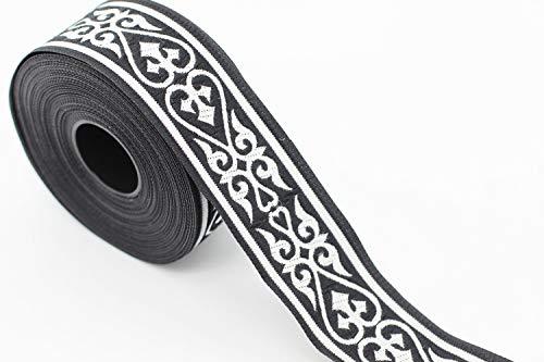 Jacquard Ribbon Wholesale - 10 Yards 1.37 inch Royal Celtic Heart Jacquard Ribbon, Black/Silver Heart Embroidered Ribbons, Jacquard Trim, Ribbon Trim, Sewing Trims