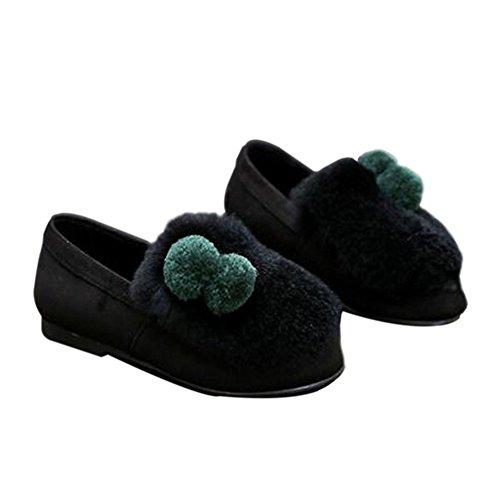 Meijunter Frühling Kinder Mädchen Flaumig Plüsch Prinzessin Shoes Warm Soft Single Schuhe Black