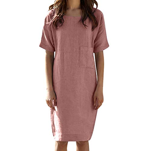 (QueenMM Soft Cotton Dress for Women, Women's Casual Solid Short Sleeve Pocket Dresses Summer Loose Midi Dress Pink)