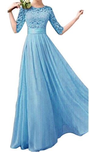 Blue Lace Solid Half Party Women Maxi Dress Dress Coolred Evening Sleeve Hgvqxw8