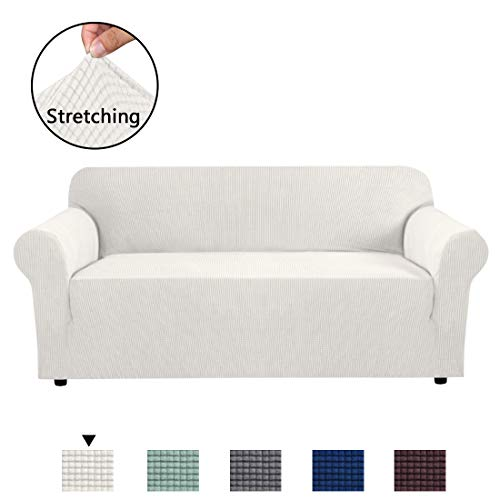 H.VERSAILTEX Form Fit Stretch Stylish Furniture Cover for Sofa Featuring Rich Jacquard Knitted Fabric, Basic Strapless Slipcover for 3 Seater Sofa Machine Washable/Skid Resistance (Sofa: Ivory)