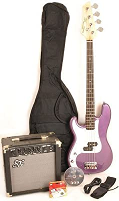 SX Ursa 1 JR RN PK MPP Purple Left Handed Bass Guitar Package w/Free Amp Bag, Strap and Instructional DVD
