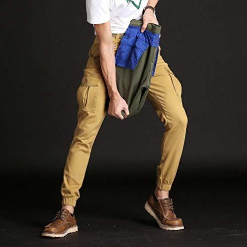 Hombres Pantalones Los Cómodo Suelta Otoño Vestir Primavera Trabajo Carga Y Battercake De Verde Color Sólido Khaki XwtqXd