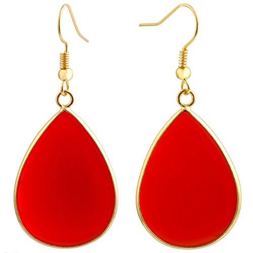 SUNYIK Women's Carnelian Teardrop Hook Dangle Earrings (Hook Earring Earrings)