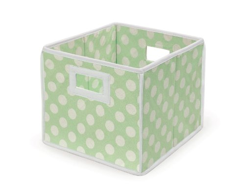 Badger Basket Folding Nursery Basket/Storage Cube, Sage Dot