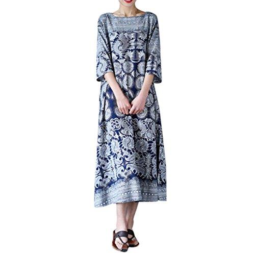 Lenfesh Robes Nationale Lache - Crewneck - Femmes Floral Print - Manches 3/4 - Robe Maxi - Grande Taille Bleu