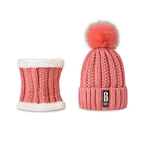 Women Winter Hat Scarf Set Girls Boys Warm