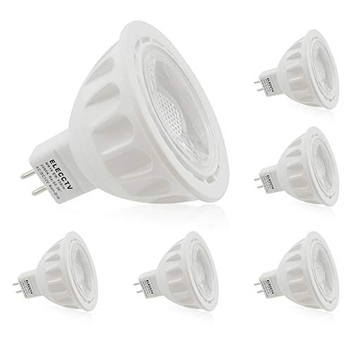 6 Pack MR16 LED Light Bulbs, 90% Energy Saving, ELECCTV 12V 5W GU5.3 Base Spotlight with 3000K Warm White 450 lm 50W Equivalent Halogen Replacement
